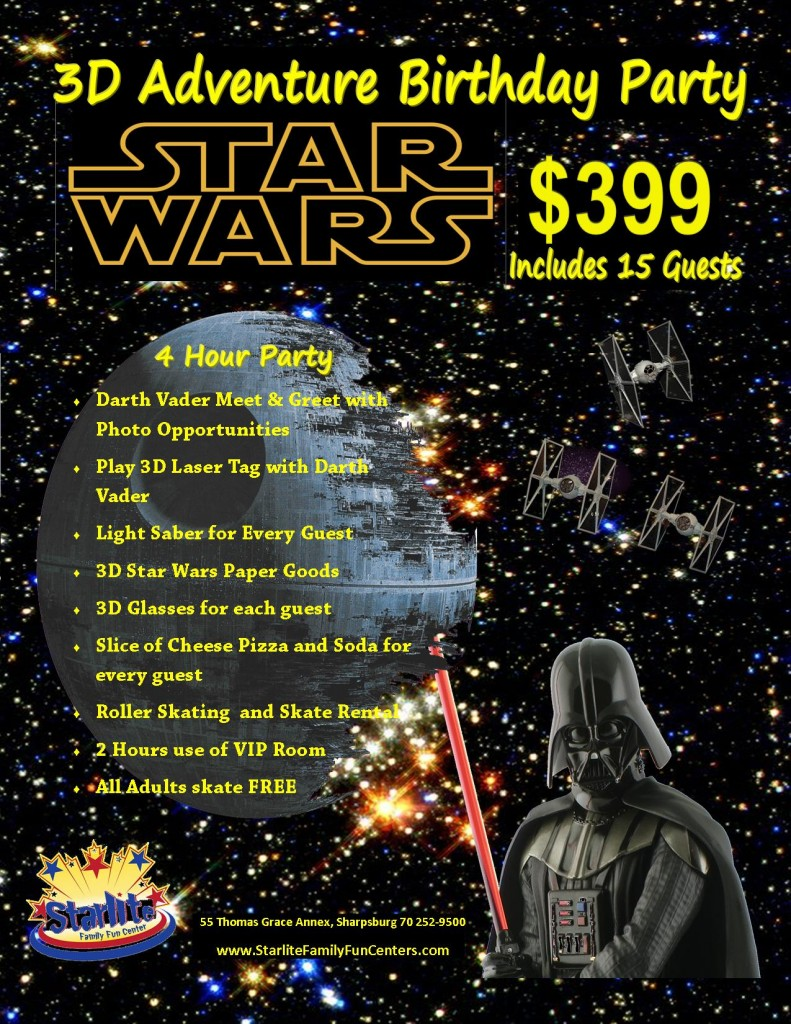 Play Laser Tag against Darth Vader at our NEW Adventure Party